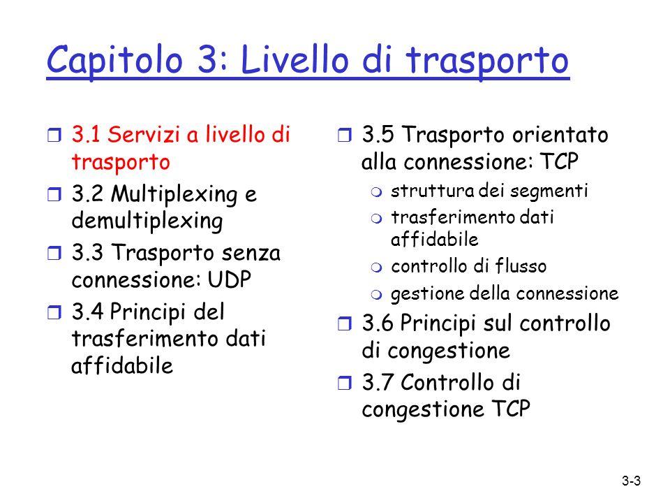 3-3 Capitolo 3: Livello di trasporto r 3.1 Servizi a livello di trasporto r 3.2 Multiplexing e demultiplexing r 3.3 Trasporto senza connessione: UDP r