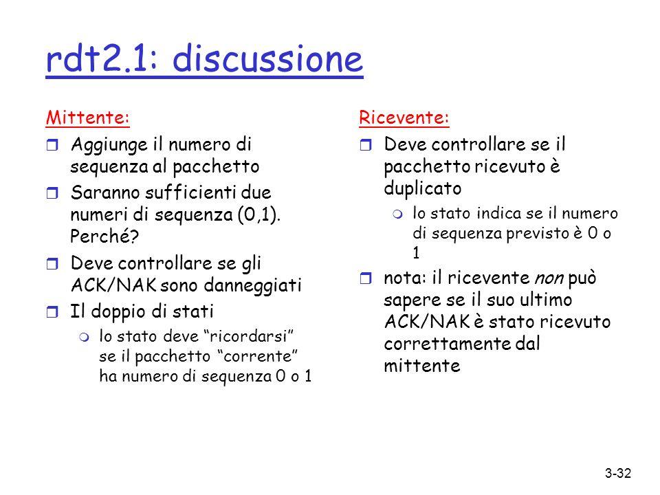 3-32 rdt2.1: discussione Mittente: r Aggiunge il numero di sequenza al pacchetto r Saranno sufficienti due numeri di sequenza (0,1). Perché? r Deve co