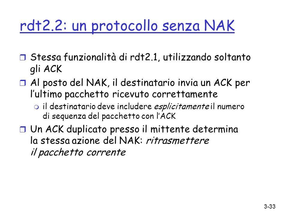 3-33 rdt2.2: un protocollo senza NAK r Stessa funzionalità di rdt2.1, utilizzando soltanto gli ACK r Al posto del NAK, il destinatario invia un ACK pe