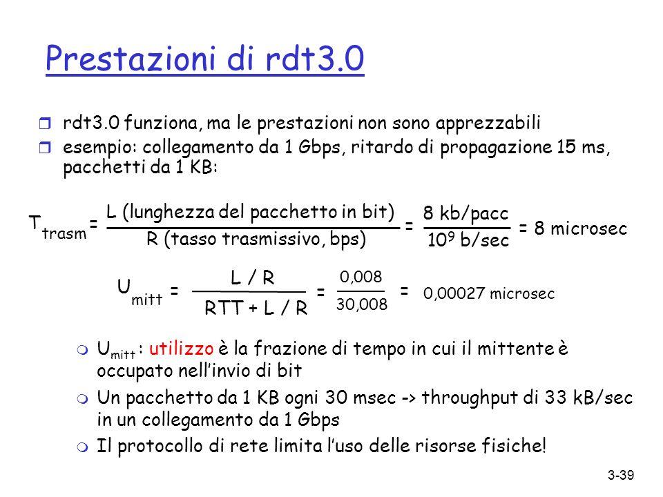 3-39 Prestazioni di rdt3.0 r rdt3.0 funziona, ma le prestazioni non sono apprezzabili r esempio: collegamento da 1 Gbps, ritardo di propagazione 15 ms
