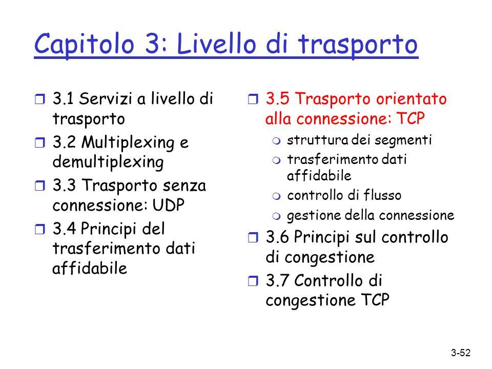3-52 Capitolo 3: Livello di trasporto r 3.1 Servizi a livello di trasporto r 3.2 Multiplexing e demultiplexing r 3.3 Trasporto senza connessione: UDP