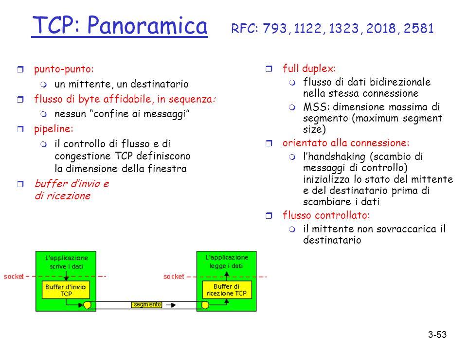3-53 TCP: Panoramica RFC: 793, 1122, 1323, 2018, 2581 r punto-punto: m un mittente, un destinatario r flusso di byte affidabile, in sequenza: m nessun
