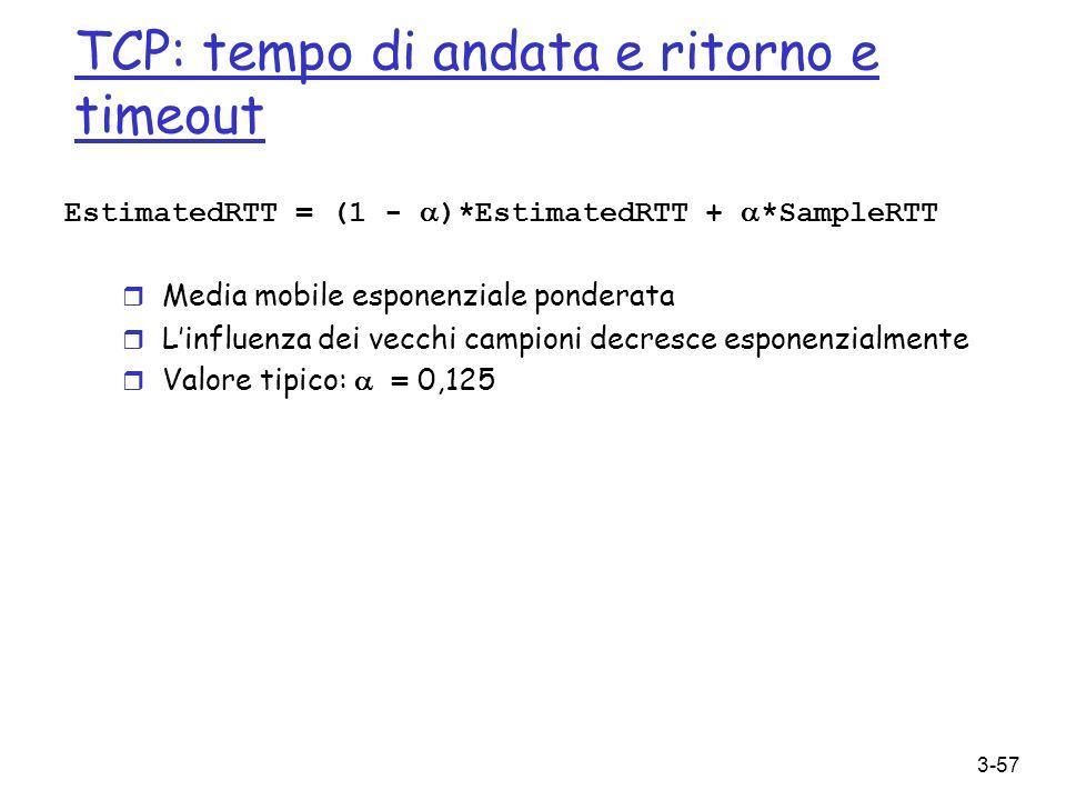 3-57 TCP: tempo di andata e ritorno e timeout EstimatedRTT = (1 - )*EstimatedRTT + *SampleRTT r Media mobile esponenziale ponderata r Linfluenza dei v