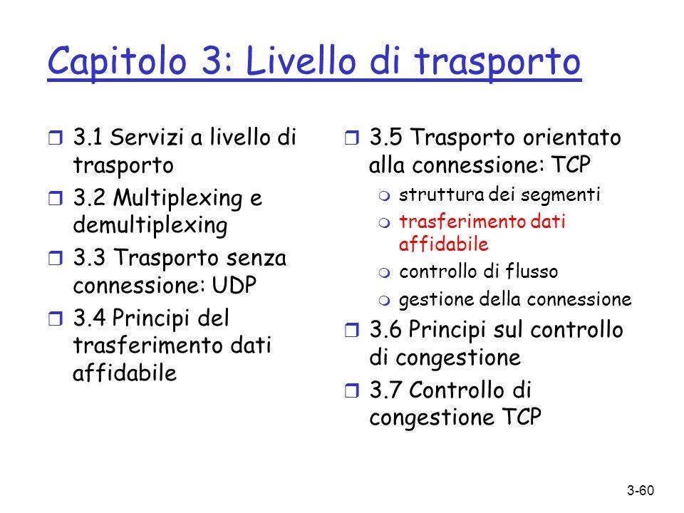3-60 Capitolo 3: Livello di trasporto r 3.1 Servizi a livello di trasporto r 3.2 Multiplexing e demultiplexing r 3.3 Trasporto senza connessione: UDP