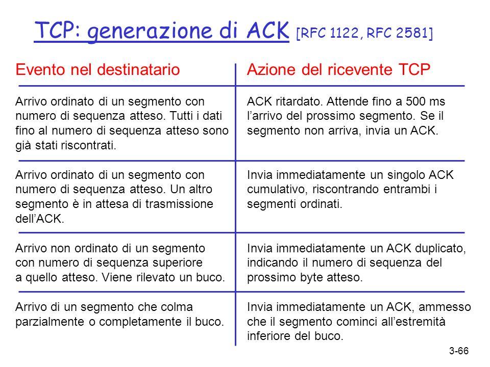 3-66 TCP: generazione di ACK [RFC 1122, RFC 2581] Evento nel destinatario Arrivo ordinato di un segmento con numero di sequenza atteso. Tutti i dati f