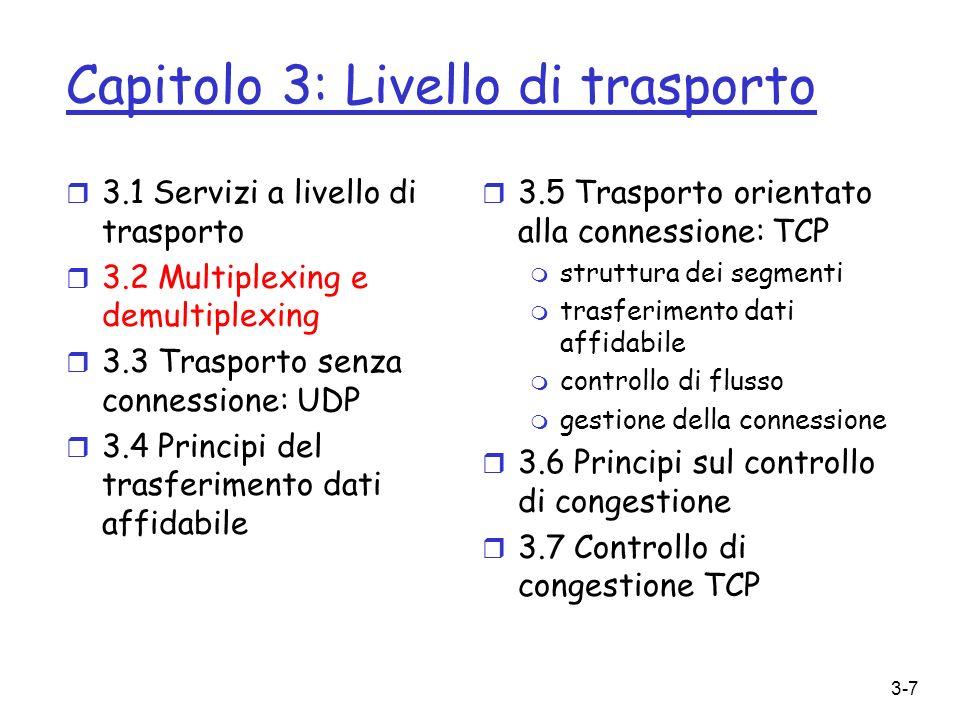 3-78 Principi sul controllo di congestione Congestione: r informalmente: troppe sorgenti trasmettono troppi dati, a una velocità talmente elevata che la rete non è in grado di gestirli r differisce dal controllo di flusso.