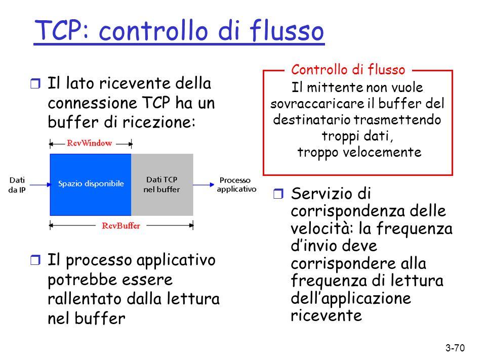 3-70 TCP: controllo di flusso r Il lato ricevente della connessione TCP ha un buffer di ricezione: r Servizio di corrispondenza delle velocità: la fre