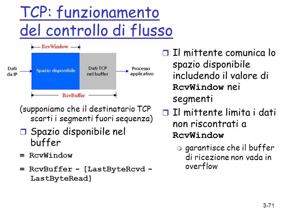3-71 TCP: funzionamento del controllo di flusso (supponiamo che il destinatario TCP scarti i segmenti fuori sequenza) Spazio disponibile nel buffer =