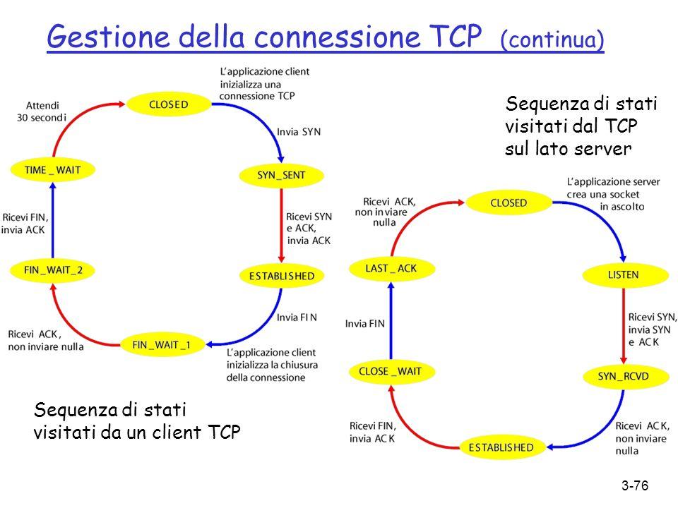 3-76 Sequenza di stati visitati da un client TCP Sequenza di stati visitati dal TCP sul lato server Gestione della connessione TCP (continua)