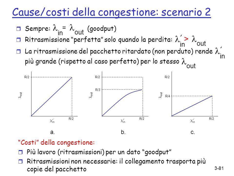 3-81 Cause/costi della congestione: scenario 2 r Sempre: (goodput) r Ritrasmissione perfetta solo quando la perdita: r La ritrasmissione del pacchetto
