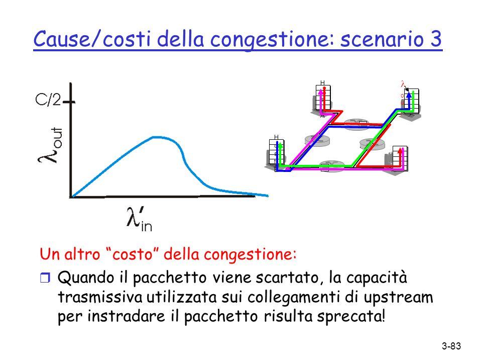 3-83 Cause/costi della congestione: scenario 3 Un altro costo della congestione: r Quando il pacchetto viene scartato, la capacità trasmissiva utilizz