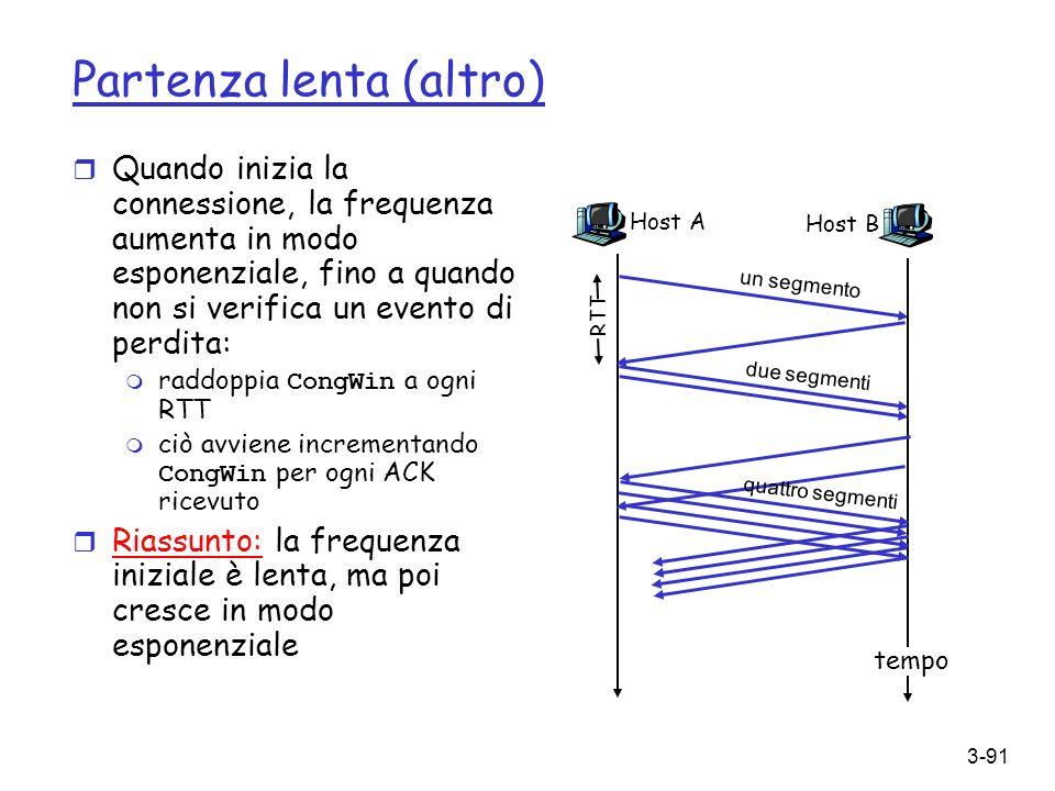3-91 Partenza lenta (altro) r Quando inizia la connessione, la frequenza aumenta in modo esponenziale, fino a quando non si verifica un evento di perd