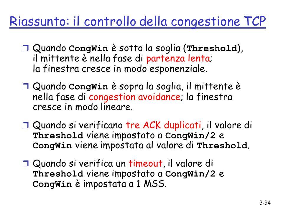 3-94 Riassunto: il controllo della congestione TCP Quando CongWin è sotto la soglia ( Threshold ), il mittente è nella fase di partenza lenta; la fine