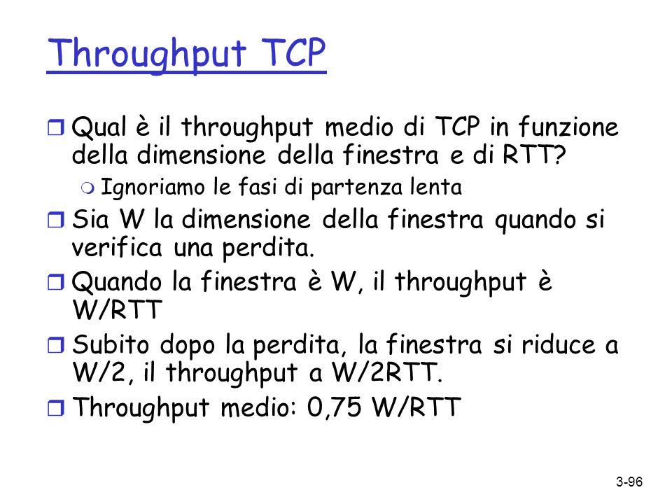 3-96 Throughput TCP r Qual è il throughput medio di TCP in funzione della dimensione della finestra e di RTT? m Ignoriamo le fasi di partenza lenta r