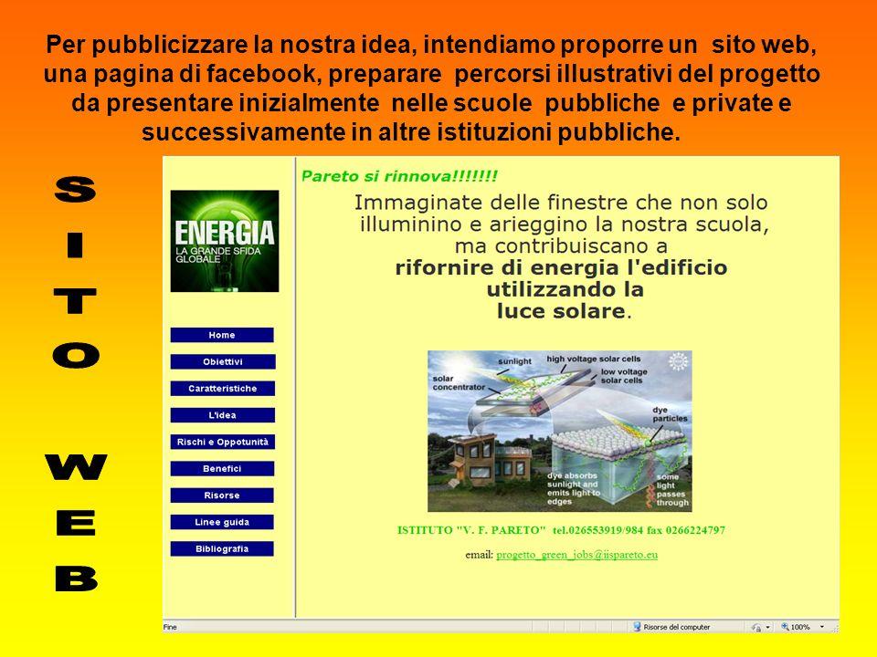 Per pubblicizzare la nostra idea, intendiamo proporre un sito web, una pagina di facebook, preparare percorsi illustrativi del progetto da presentare
