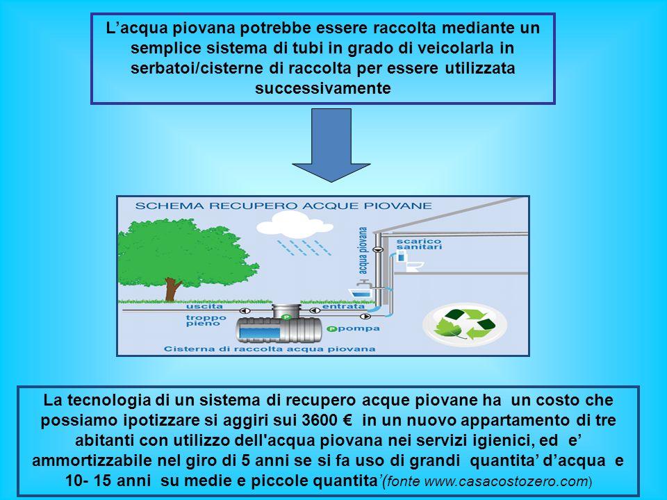 Lacqua piovana potrebbe essere raccolta mediante un semplice sistema di tubi in grado di veicolarla in serbatoi/cisterne di raccolta per essere utiliz