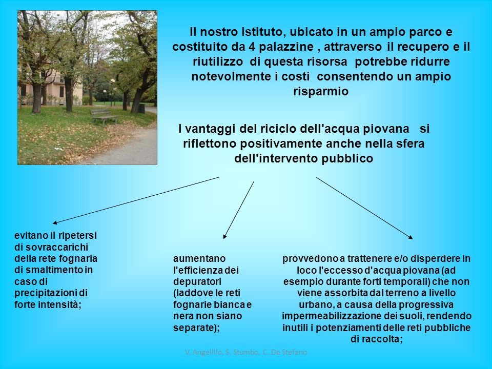 V. Angelillo, S. Stumbo, C. De Stefano Il nostro istituto, ubicato in un ampio parco e costituito da 4 palazzine, attraverso il recupero e il riutiliz