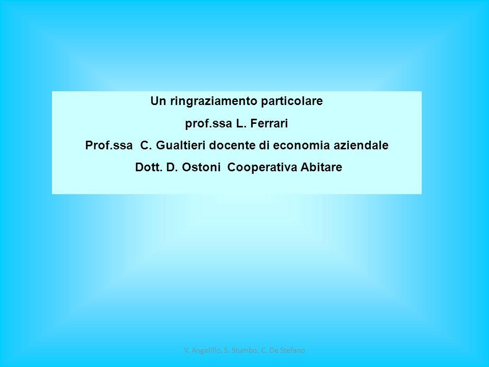 V. Angelillo, S. Stumbo, C. De Stefano Un ringraziamento particolare prof.ssa L. Ferrari Prof.ssa C. Gualtieri docente di economia aziendale Dott. D.