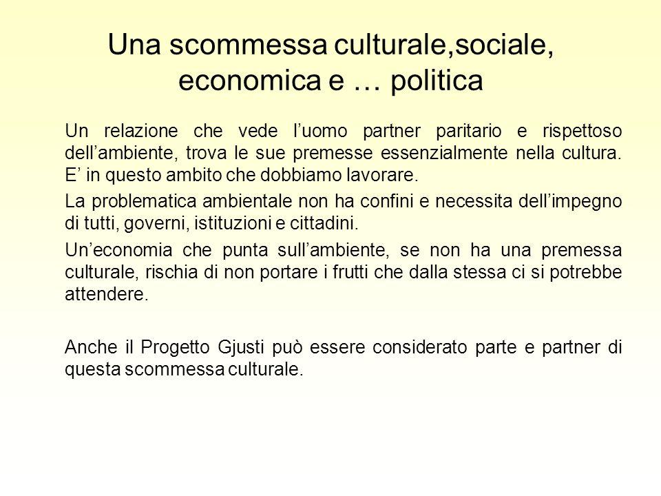 Una scommessa culturale,sociale, economica e … politica Un relazione che vede luomo partner paritario e rispettoso dellambiente, trova le sue premesse essenzialmente nella cultura.