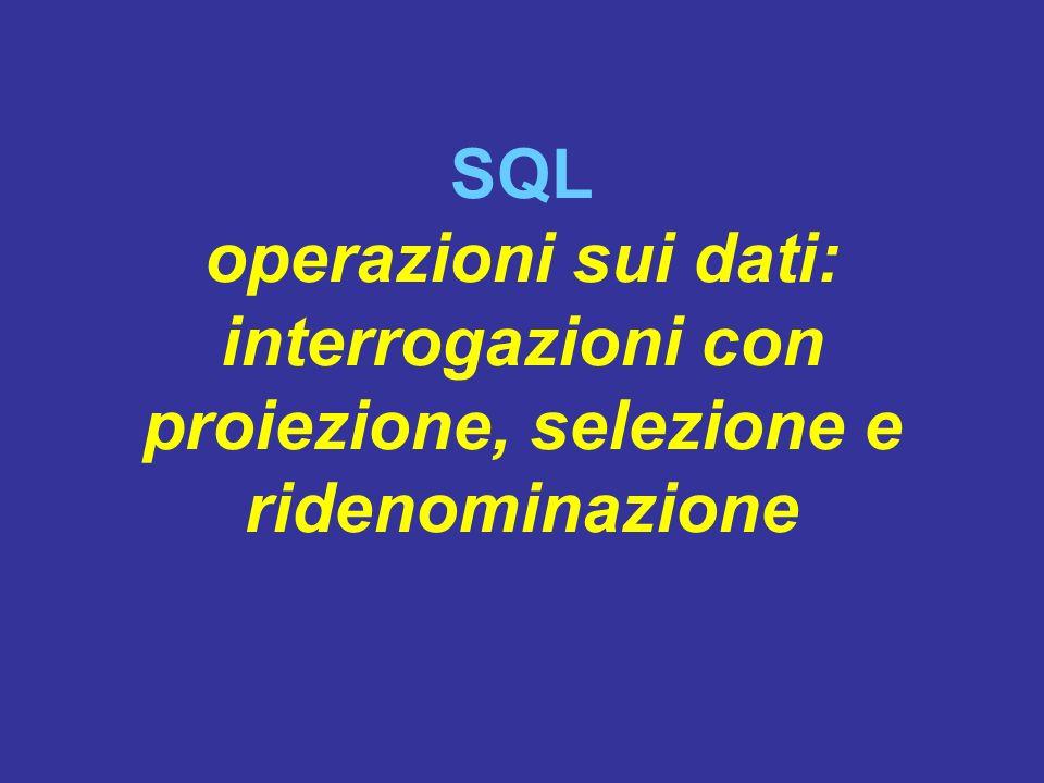 SQL operazioni sui dati: interrogazioni con proiezione, selezione e ridenominazione