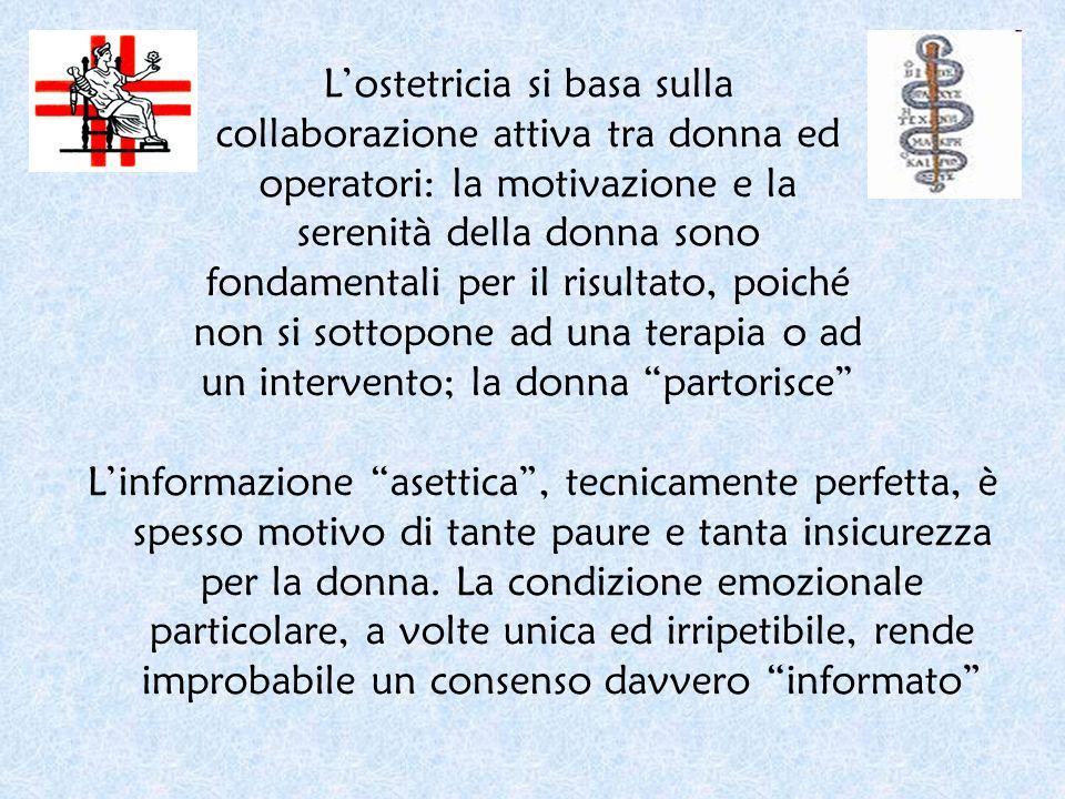 Lostetricia si basa sulla collaborazione attiva tra donna ed operatori: la motivazione e la serenità della donna sono fondamentali per il risultato, p