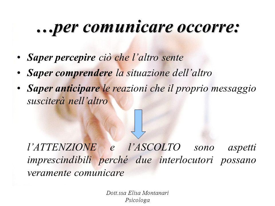Dott.ssa Elisa Montanari Psicologa …per comunicare occorre: Saper percepire ciò che laltro sente Saper comprendere la situazione dellaltro Saper antic