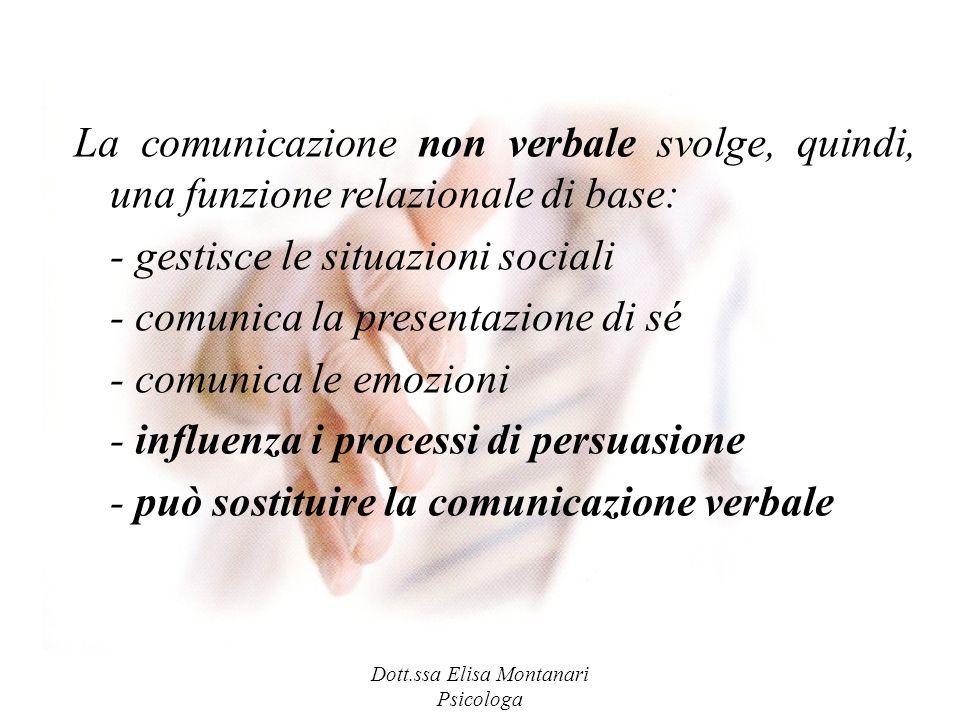 Dott.ssa Elisa Montanari Psicologa La comunicazione non verbale svolge, quindi, una funzione relazionale di base: - gestisce le situazioni sociali - c