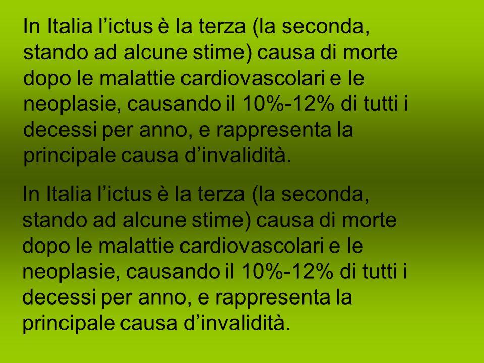 In Italia lictus è la terza (la seconda, stando ad alcune stime) causa di morte dopo le malattie cardiovascolari e le neoplasie, causando il 10%-12% di tutti i decessi per anno, e rappresenta la principale causa dinvalidità.