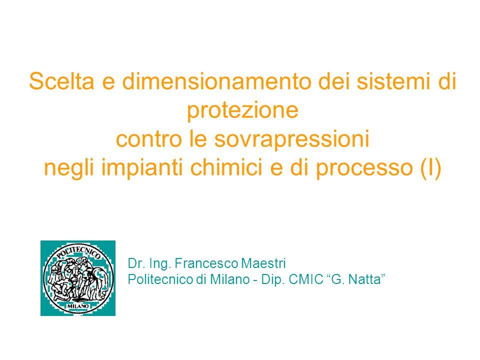 Scelta e dimensionamento dei sistemi di protezione contro le sovrapressioni negli impianti chimici e di processo (I) Dr.