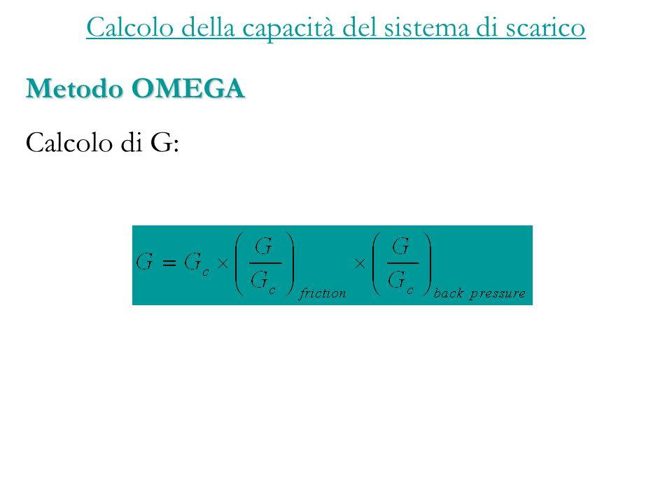 Calcolo della capacità del sistema di scarico Metodo OMEGA Calcolo di G: