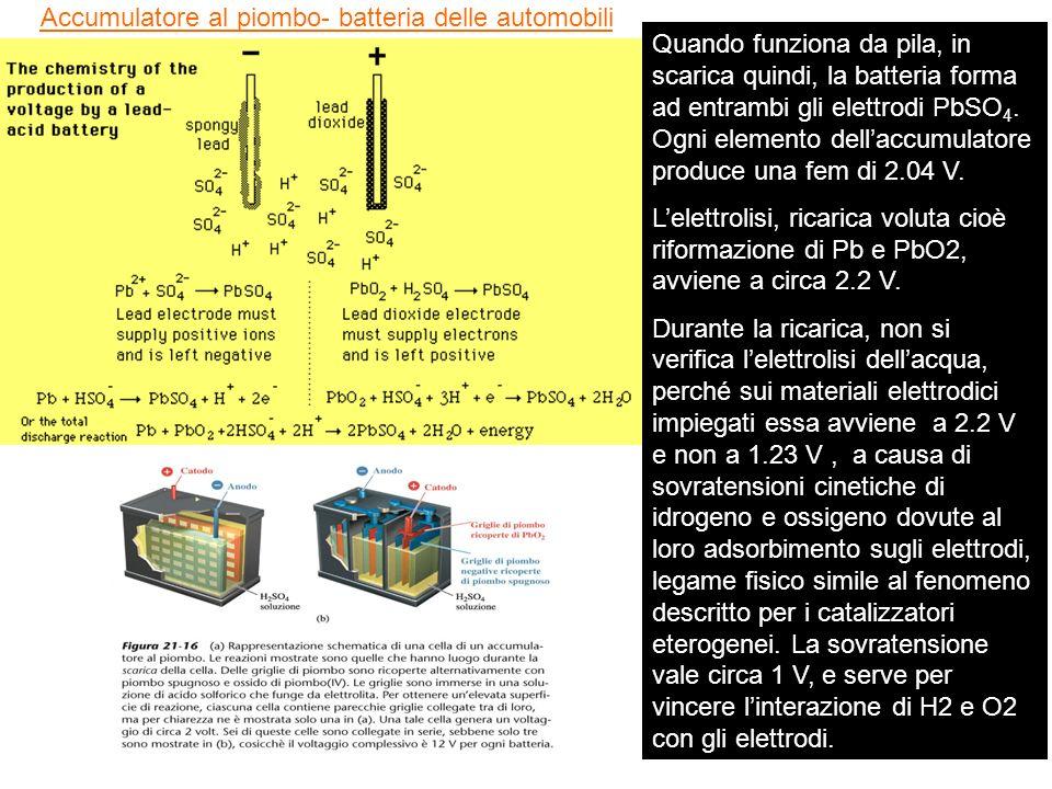 Accumulatore al piombo- batteria delle automobili Quando funziona da pila, in scarica quindi, la batteria forma ad entrambi gli elettrodi PbSO 4. Ogni