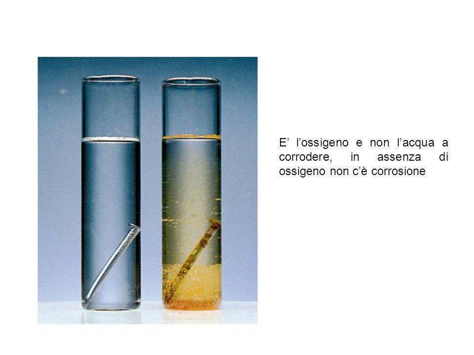 E lossigeno e non lacqua a corrodere, in assenza di ossigeno non cè corrosione