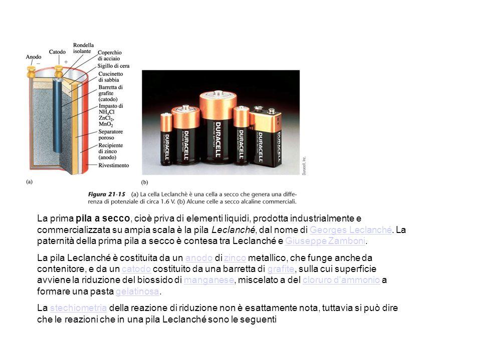 La prima pila a secco, cioè priva di elementi liquidi, prodotta industrialmente e commercializzata su ampia scala è la pila Leclanché, dal nome di Georges Leclanché.