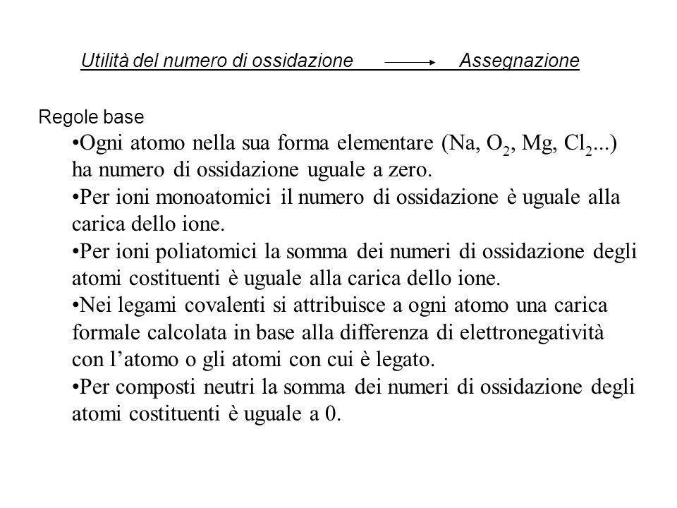 Utilità del numero di ossidazione Assegnazione Regole base Ogni atomo nella sua forma elementare (Na, O 2, Mg, Cl 2...) ha numero di ossidazione ugual