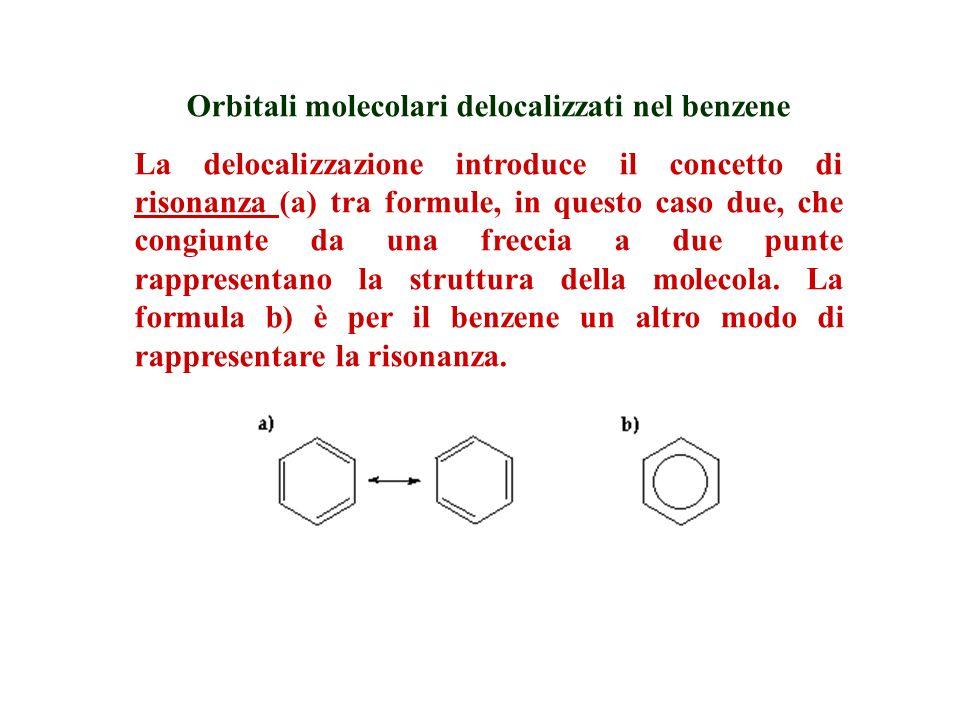 Orbitali molecolari delocalizzati nel benzene La delocalizzazione introduce il concetto di risonanza (a) tra formule, in questo caso due, che congiunt