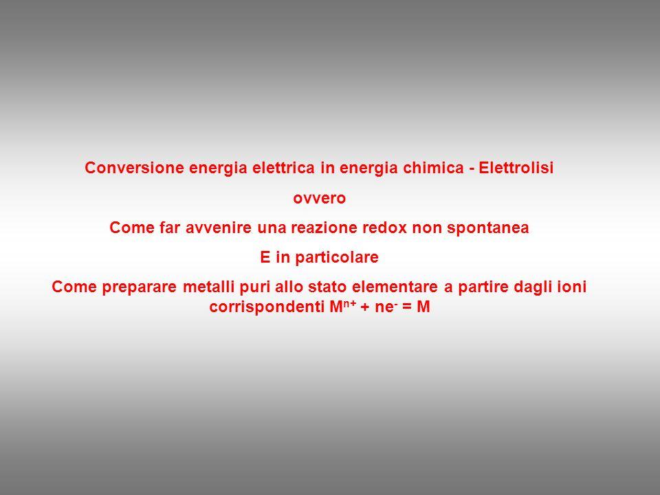 Conversione energia elettrica in energia chimica - Elettrolisi ovvero Come far avvenire una reazione redox non spontanea E in particolare Come preparare metalli puri allo stato elementare a partire dagli ioni corrispondenti M n+ + ne - = M