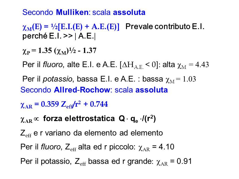 Secondo Mulliken: scala assoluta M (E) = ½[E.I.(E) + A.E.(E)] Prevale contributo E.I. perché E.I. >> A.E. P = 1.35 ( M ) ½ - 1.37 Per il fluoro, alte