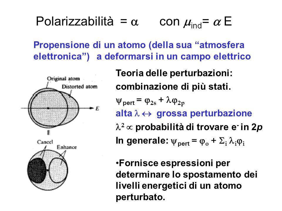Polarizzabilità = con ind = E Propensione di un atomo (della sua atmosfera elettronica) a deformarsi in un campo elettrico Teoria delle perturbazioni: