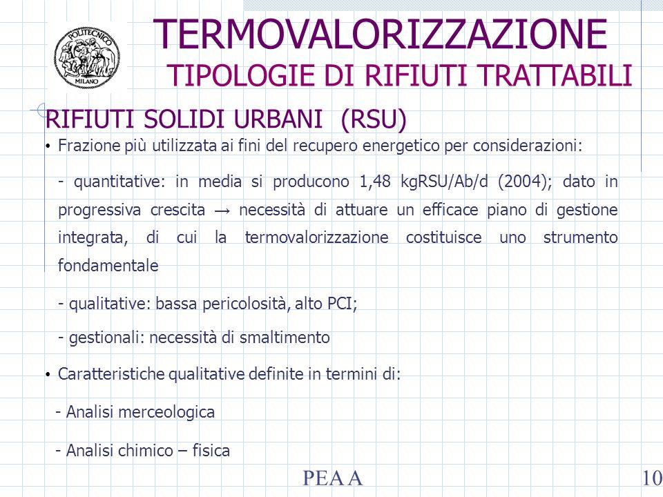 RIFIUTI SOLIDI URBANI (RSU) Frazione più utilizzata ai fini del recupero energetico per considerazioni: - quantitative: in media si producono 1,48 kgR