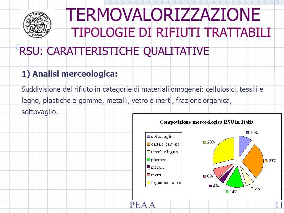 RSU: CARATTERISTICHE QUALITATIVE 1) Analisi merceologica: Suddivisione del rifiuto in categorie di materiali omogenei: cellulosici, tessili e legno, plastiche e gomme, metalli, vetro e inerti, frazione organica, sottovaglio.