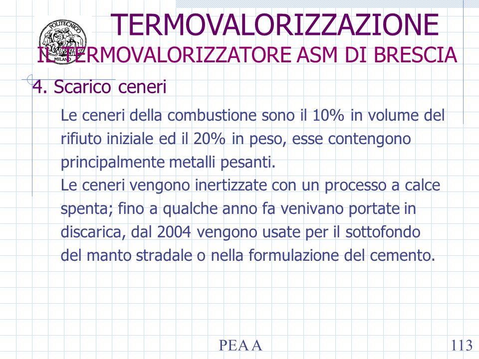 4. Scarico ceneri Le ceneri della combustione sono il 10% in volume del rifiuto iniziale ed il 20% in peso, esse contengono principalmente metalli pes