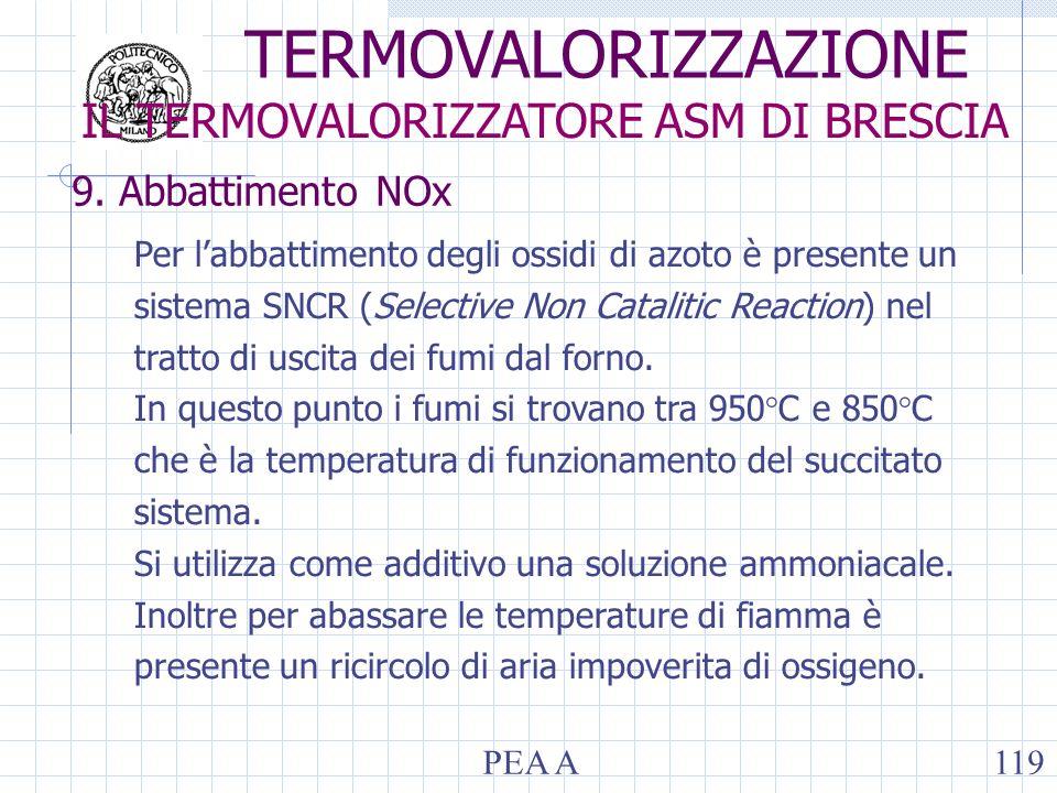 9. Abbattimento NOx Per labbattimento degli ossidi di azoto è presente un sistema SNCR (Selective Non Catalitic Reaction) nel tratto di uscita dei fum