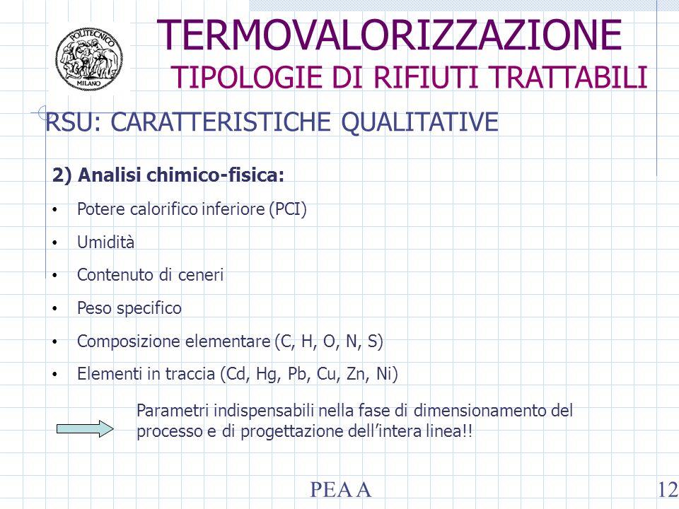 RSU: CARATTERISTICHE QUALITATIVE 2) Analisi chimico-fisica: Potere calorifico inferiore (PCI) Umidità Contenuto di ceneri Peso specifico Composizione