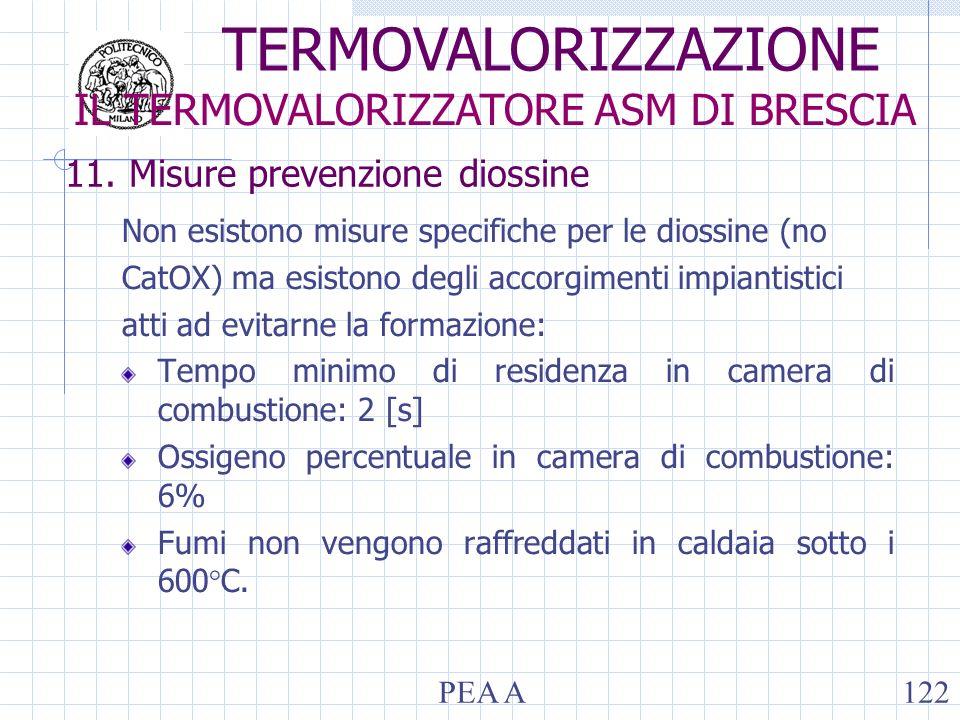 11. Misure prevenzione diossine Non esistono misure specifiche per le diossine (no CatOX) ma esistono degli accorgimenti impiantistici atti ad evitarn