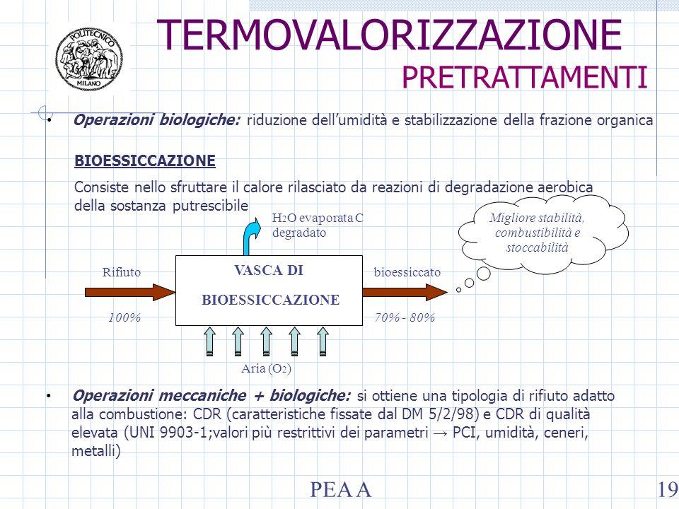 Operazioni biologiche: riduzione dellumidità e stabilizzazione della frazione organica BIOESSICCAZIONE Consiste nello sfruttare il calore rilasciato da reazioni di degradazione aerobica della sostanza putrescibile bioessiccato VASCA DI BIOESSICCAZIONE Rifiuto H 2 O evaporata C degradato 100%70% - 80% Aria (O 2 ) Migliore stabilità, combustibilità e stoccabilità Operazioni meccaniche + biologiche: si ottiene una tipologia di rifiuto adatto alla combustione: CDR (caratteristiche fissate dal DM 5/2/98) e CDR di qualità elevata (UNI 9903-1;valori più restrittivi dei parametri PCI, umidità, ceneri, metalli) PRETRATTAMENTI PEA A19 TERMOVALORIZZAZIONE