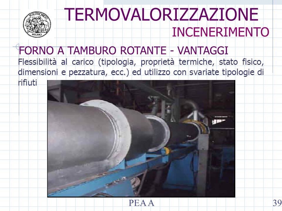 Flessibilità al carico (tipologia, proprietà termiche, stato fisico, dimensioni e pezzatura, ecc.) ed utilizzo con svariate tipologie di rifiuti TERMOVALORIZZAZIONE INCENERIMENTO FORNO A TAMBURO ROTANTE - VANTAGGI PEA A39