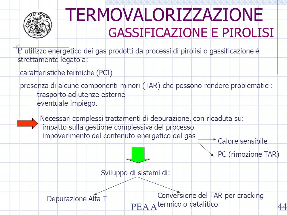 L utilizzo energetico dei gas prodotti da processi di pirolisi o gassificazione è strettamente legato a: caratteristiche termiche (PCI) presenza di al
