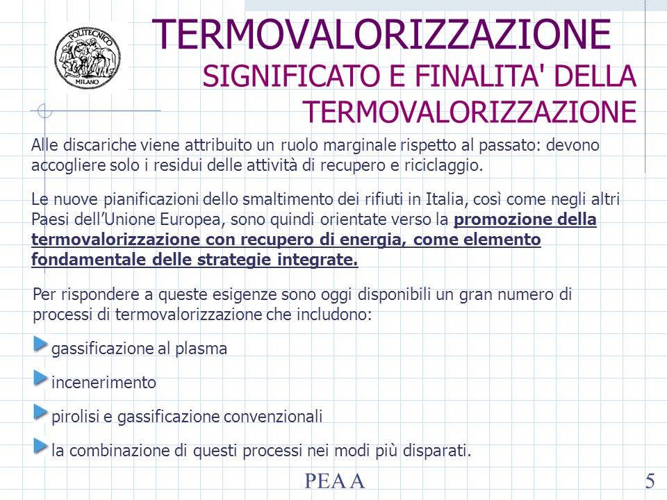 Il processo prevede essenzialmente 3 fasi: conversione termica, recupero energetico e trattamento degli effluenti gassosi rifiuti aria CONVERSIONE TERMICA IN FORNI DEDICATI RECUPERO ENERGETICO IN CALDAIA TRATTAMENTO DEGLI EFFLUENTI GASSOSI scorie energia elettrica e/o termica Residui liquidi e/o solidi fumi depurati fumi reagenti C,H,S,N CO 2,H 2 0,SO 2,NO x Umidità vapor acqueo CO, NO x, polveri Cl,Br,F HCl,HBr,HF Composti organici (PCDD/F) TERMOVALORIZZAZIONE FASI DEL PROCESSO E SCHEMA D IMPIANTO PEA A6