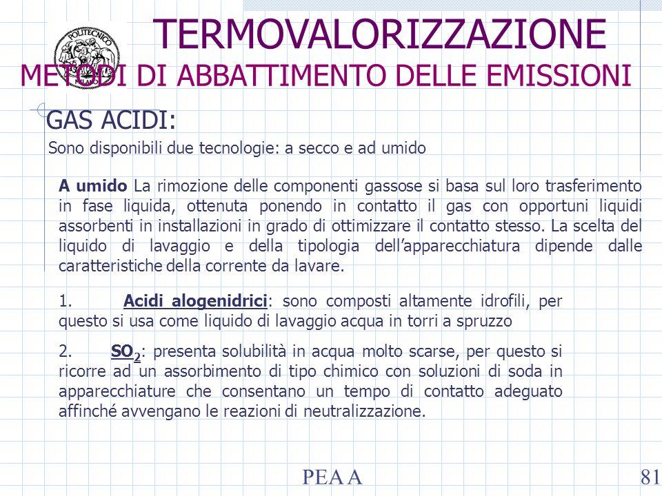 GAS ACIDI: Sono disponibili due tecnologie: a secco e ad umido A umido La rimozione delle componenti gassose si basa sul loro trasferimento in fase li