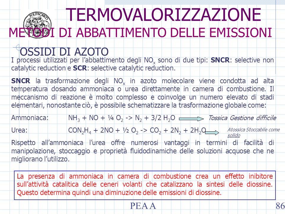 OSSIDI DI AZOTO I processi utilizzati per labbattimento degli NO x sono di due tipi: SNCR: selective non catalytic reduction e SCR: selective catalytic reduction.